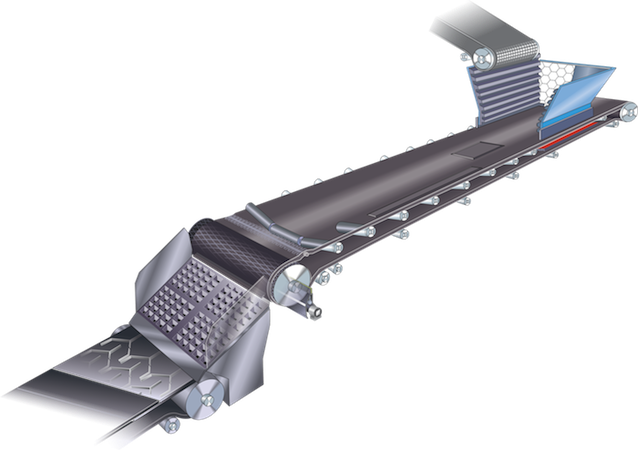 A complete conveyor belt system